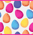 seamless pattern of colorful easter eggs on white vector image