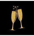 Two Glasses of Champagne Silhouette vector image