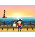 Cartoon Light Boy Dog vector image vector image