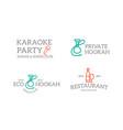 set of retro vintage night club karaoke disco vector image