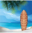 Tiki warrior mask design surfboard on ocean beach vector image vector image