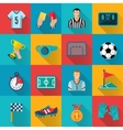 Soccer Flat Icons Set vector image