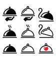 Meal dinner food platter icons set vector image