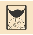 Flat in black white hourglass and coins vector image