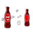 Cartoon bottle of soda with thumb up vector image