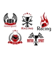 Motorsport motorcycle and auto racing symbols vector image