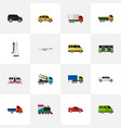 Set of 16 editable automobile icons includes vector image