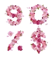 Spring font from cherry flowers figures and signs vector image