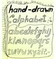 Black hand drawn alphabet doodles vector image