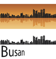 Busan skyline in orange background vector image vector image