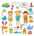 Beach set in doodle style vector image