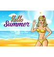 Outdoor summer sunny bikini fashion smiling vector image