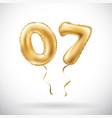 Golden number 0 7 zero seven metallic balloon vector image