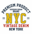 graphic design premium product nyc for t-shirts vector image