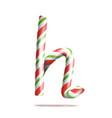 letter h  3d realistic candy cane alphabet vector image