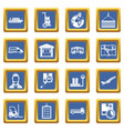 logistic icons set blue vector image