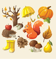 Set of elements and items that represent autumn vector image