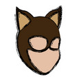 teenager in the cat suit mask ears halloween vector image
