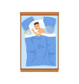 young man sleeping in his bed relaxing person vector image