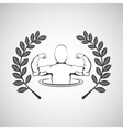 bodybuilder muscle man sport emblem laurel branch vector image