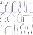 set of separated outlined cosmetics bottles vector image
