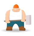 Big workman with hammer vector image vector image