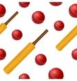 Cricket ball bat seamless backgroung vector image