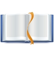 Blue open book with a bookmark vector image