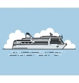 Ferry boat and clouds in linear stile vector image