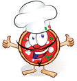 fun pizza cartoon with hat and thumb up vector image