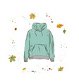 hoodie of mint color clothing on the background vector image