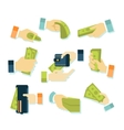 Money in Hands Icons vector image