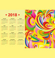 yellow english calendar 2018 year vector image