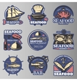 Seafood Emblem Set In Color vector image