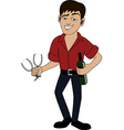 Man with bottle of wine vector image