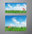 field of green grass and sky background vector image vector image