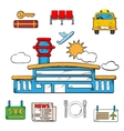 Airport and flight service icons vector image vector image