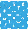 set of dental theme icons blue seamless pattern vector image