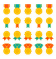 set of medals badges or awards with ribbons flat vector image