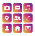 social network icons on colorful background vector image