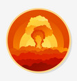 stiker with clouds nuclear explosion and power vector image