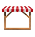 Store front with red awning and wooden rack vector image