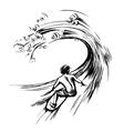 Surfer in wave brush ink sketch handdrawn vector image