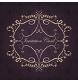 Vintage frame template design with text on purple vector image