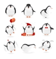 Collection of cute penguins characters Set of vector image