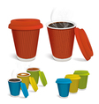 Hot tea cappuccino coffee in colorful paper cups vector image