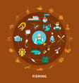 fishing icons round composition vector image