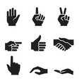 human hand symbol icon set vector image