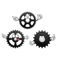 Funny cartoon cogwheels gears and pinions vector image