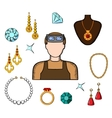 Jeweler and goldsmith with jewelries vector image